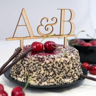Cake topper with initials